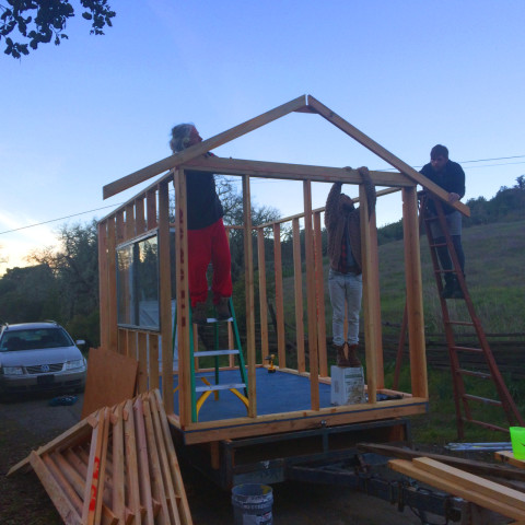The chicken coop roofwork begins at Groundswell ecovillage and retreat center